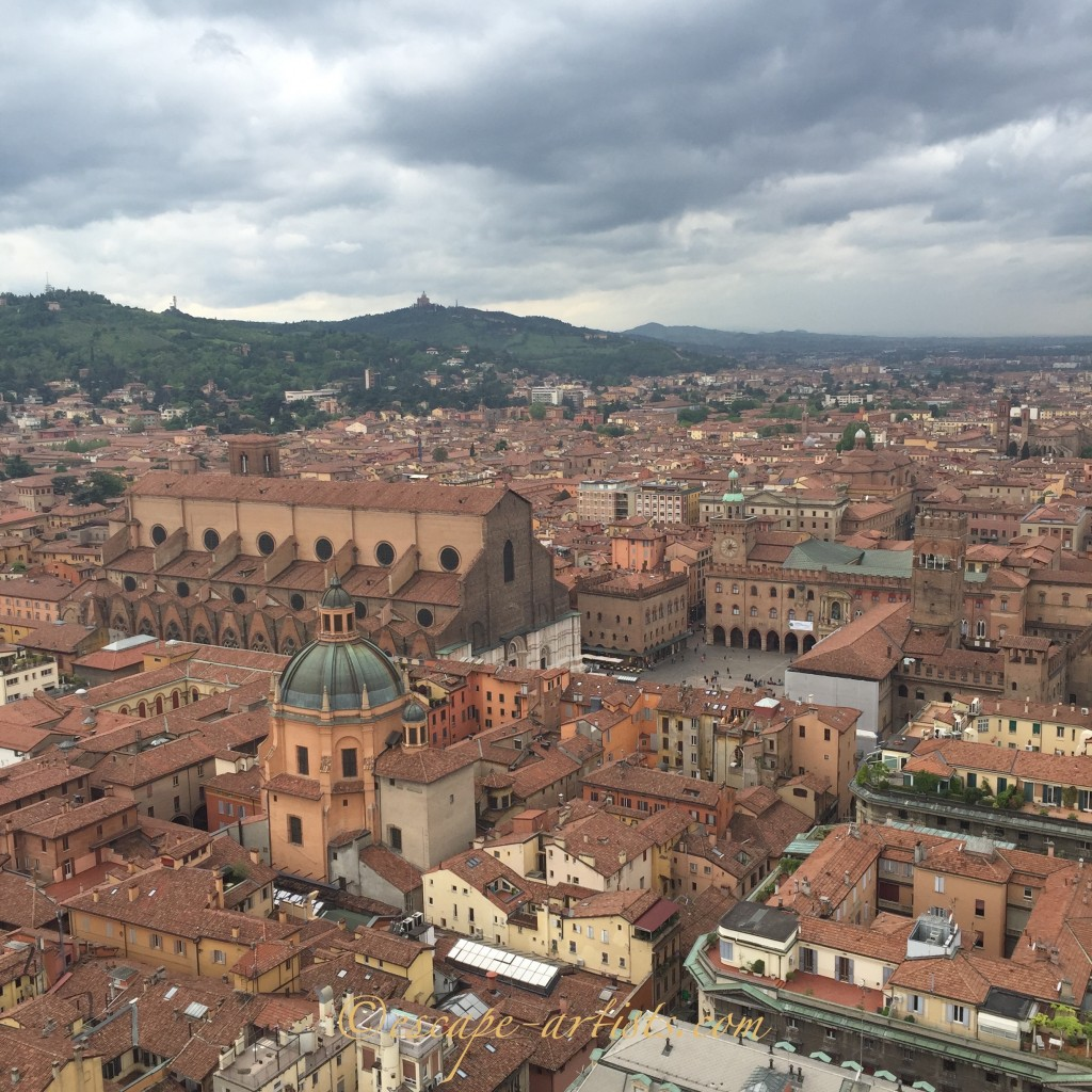 View of Piazza Maggiore from the top of Asinelli