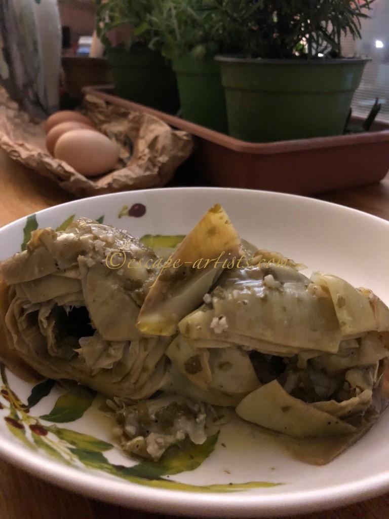 Not the prettiest but 100% the tastiest Carciofi alla Romana!