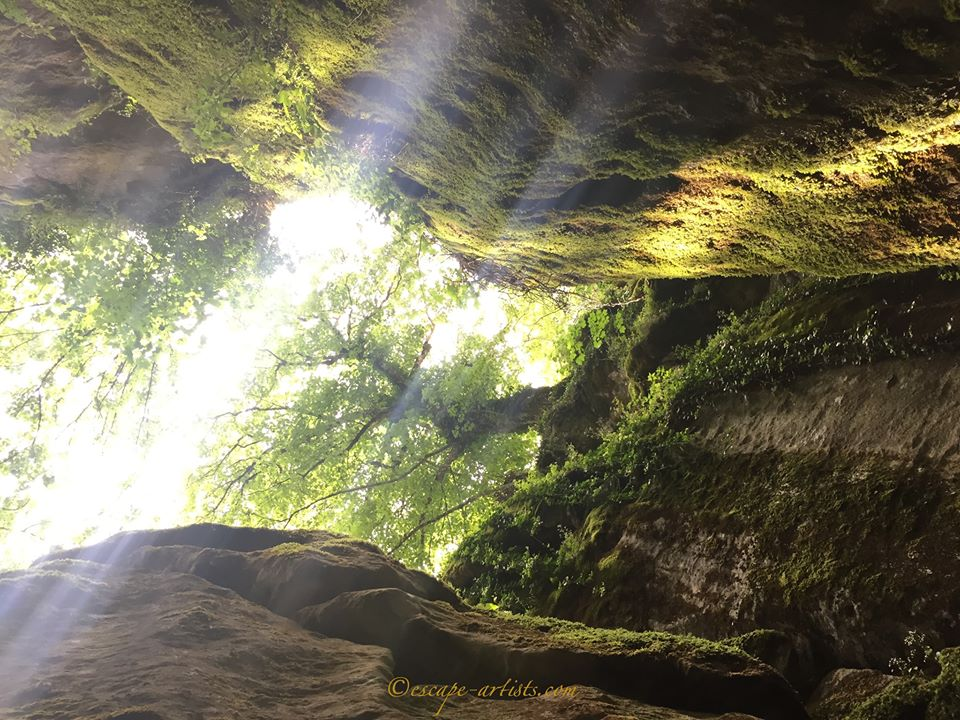 Looking up from St Francis' Grotto